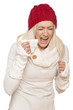 cold girl with a red winter hat sneezed on white background