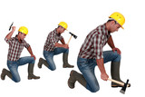 Construction worker in different poses with an axe