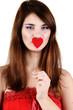 teen girl holding heart