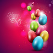 Modern red Easter background with colorful eggs