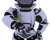 Robot  nurturing a  seedling plant