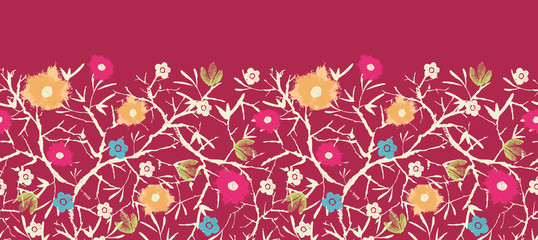 Vector painted blossoming branches horizontal seamless pattern
