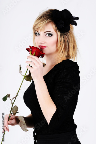 lady with rose