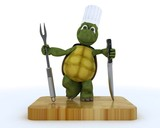 tortoise chef with carving knife and fork