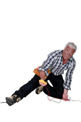 electrician falling down after an electrical shock