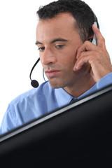 businessman wearing a headset