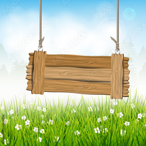Spring landscape with wooden sign