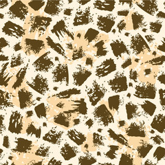 Vector animal brush stroke seamless pattern background with hand