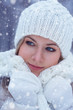 closeup beautiful woman winter portrait
