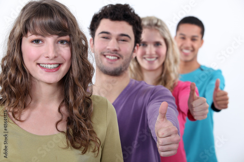 People giving the thumbs-up