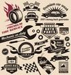 Vector set of vintage car symbols and logos