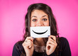 Happy Young Woman with Smiley Emoticon