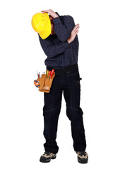 An embarrassed tradesman