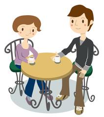 カフェで休憩する2人