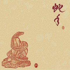 Chinese 2013 for Year of Snake design, words mean happy new year