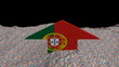 Portugal flag arrow in abstract ocean of Euros animation