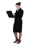 Woman in suit using laptop
