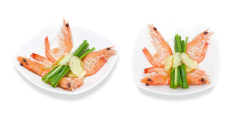 Cooked unshelled shrimps isolated on white