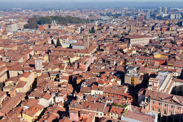 aerial bird view from Asinelli Tower on Bologna