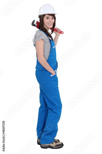 Woman with a wrench