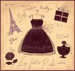 Vector illustration with symbols of french fashion