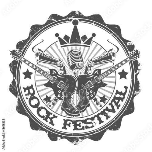 Stamp rock festival. Vector illustration.