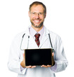 smiling medical doctor show a tablet pc