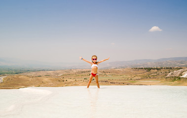 little girl in Pamukkale