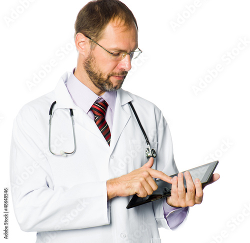 medical doctor holding a tablet pc