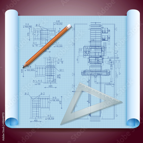 Architect's paper with pencils