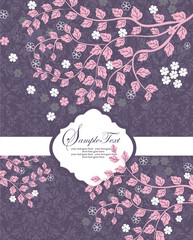 invitation card with pink branch and leaf