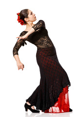 young woman dancing flamenco isolated
