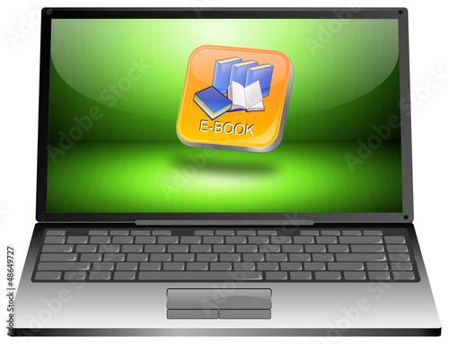 Laptop mit E-Book Button