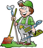 A happy Gardener standing with his garden tool