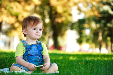 cute baby is playing with phone on the green grass