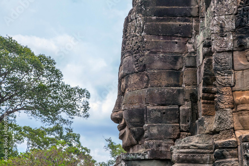 A fragment of the towers of Angkor Thom temple