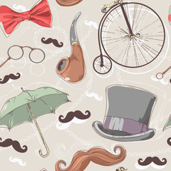 Retro seamless pattern with vintage objects