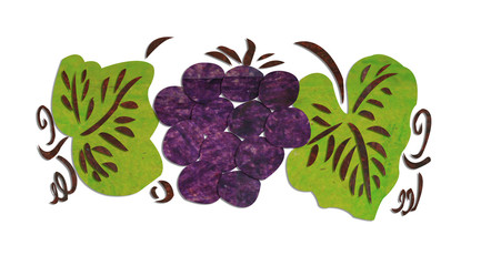 Grape-made-frome-paper-recycled-on-white-background