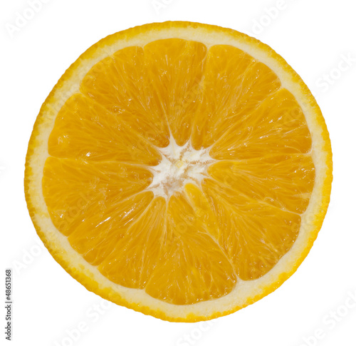 sliced ??orange on white background