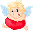 Cartoon cupid with heart