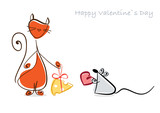 Happy Valentine. Red cat and mouse with gifts. Illustration