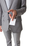 businessman holding a business card