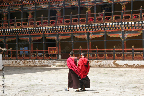 Monks debating at Rinpung Dzong in Paro, Bhutan