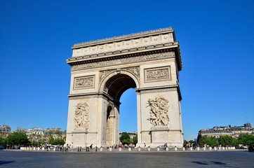 Arc de Triomphe under a sunny blue sky in Paris, France