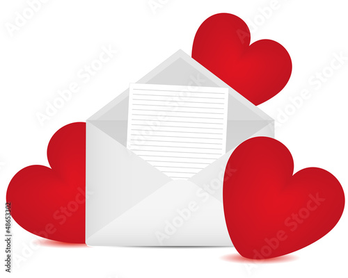 Letter in an envelope and red hearts