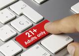 21+ adults only keyboard key. Finger