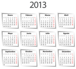 Spanish Calendar for 2013 with shadows. Mondays first