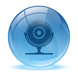 Blue abstract 3d web cam icon