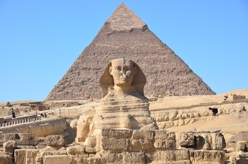 Great Sphinx of Giza and the pyramid of Khafre at Giza, Egypt