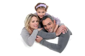 Loving family in grey